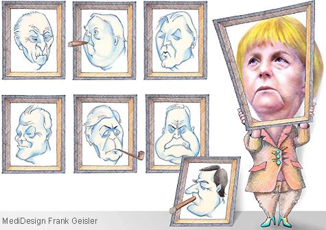 Cartoon Karikatur Bundeskanzler Bundesrepublik Deutschland BRD und Bundeskanzlerin Angela Merkel