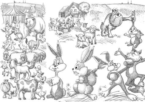 Cartoon mit Illustrationen Tiere